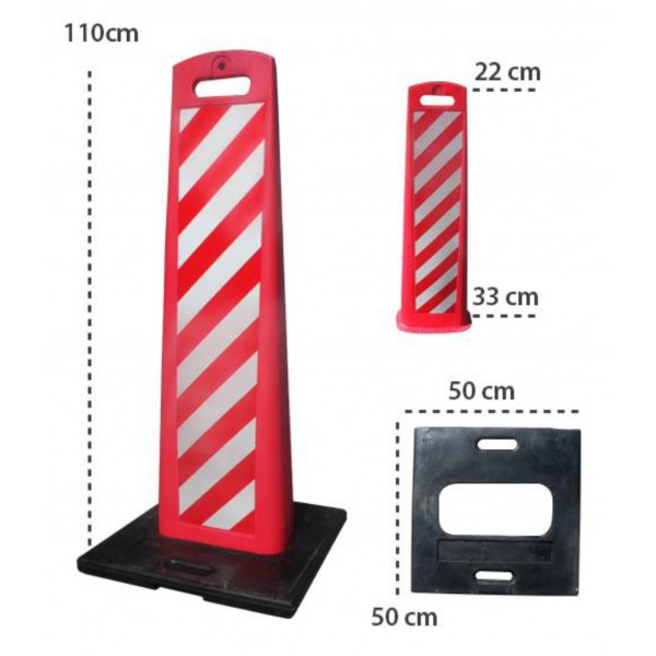 hito delineador aleta 110cm rojo blanco
