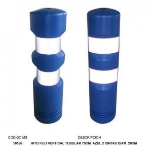 hito fijo vertical tubular 75cm  azul 2 cintas